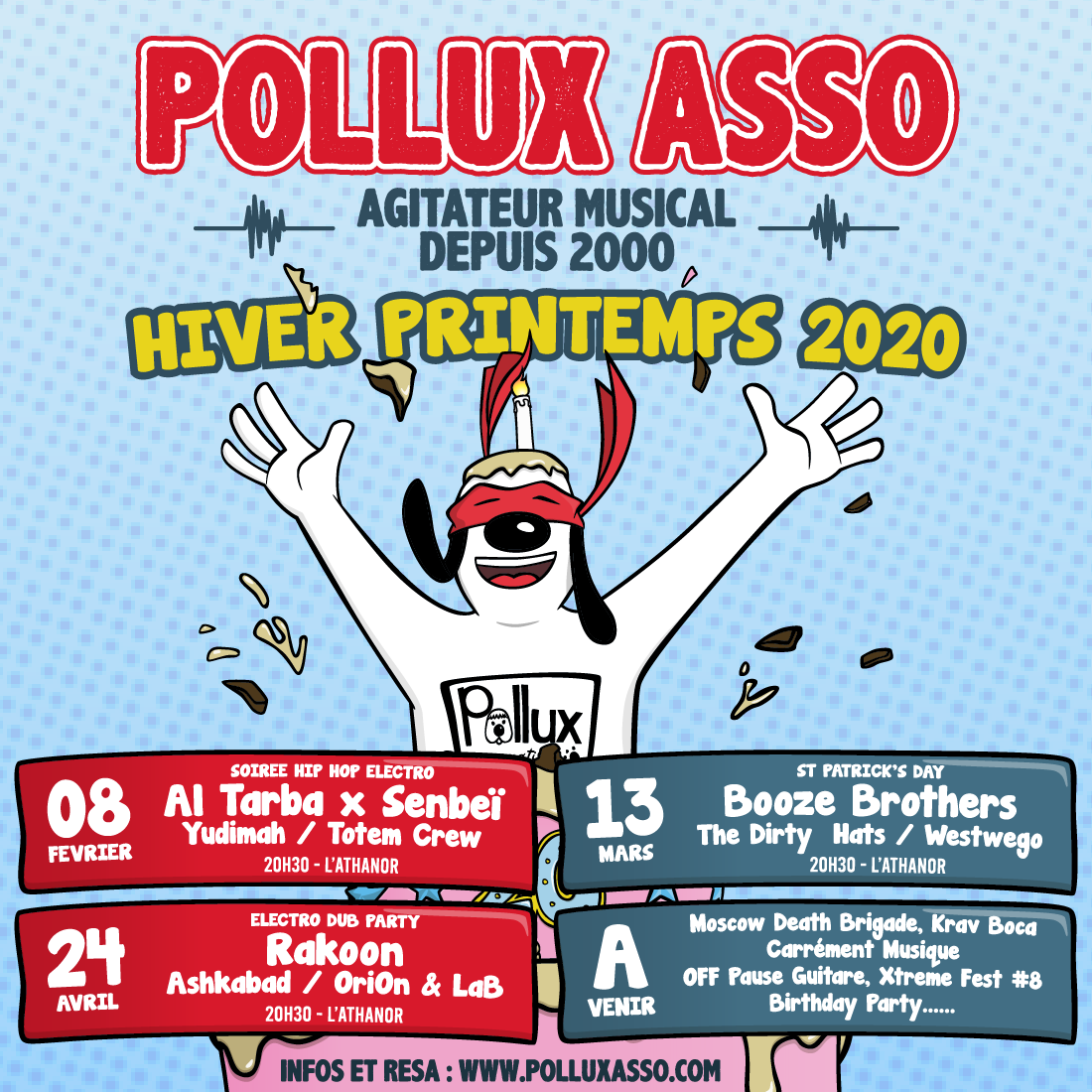 Programmation Hiver printemps 2020 concerts Pollux association